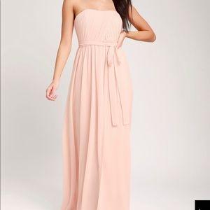 BRAND NEW : Lulu's Be In Love Blush Maxi Dress